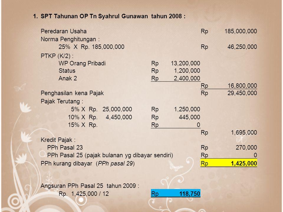 1.SPT Tahunan OP Tn Syahrul Gunawan tahun 2008 : Peredaran UsahaRp185,000,000 Norma Penghitungan : 25% X Rp.