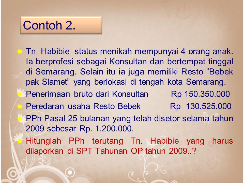  Tn Habibie status menikah mempunyai 4 orang anak. Ia berprofesi sebagai Konsultan dan bertempat tinggal di Semarang. Selain itu ia juga memiliki Res