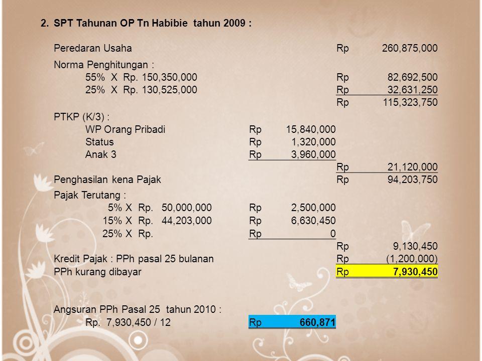2.SPT Tahunan OP Tn Habibie tahun 2009 : Peredaran UsahaRp260,875,000 Norma Penghitungan : 55% X Rp. 150,350,000Rp82,692,500 25% X Rp. 130,525,000Rp32