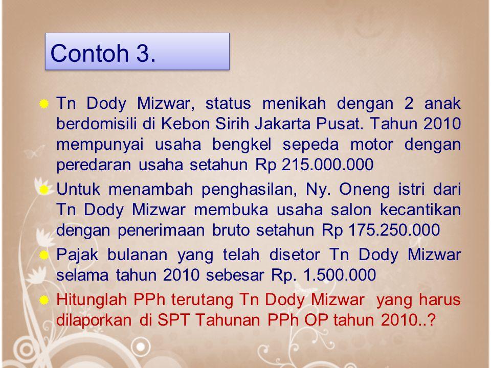 Contoh 3.  Tn Dody Mizwar, status menikah dengan 2 anak berdomisili di Kebon Sirih Jakarta Pusat. Tahun 2010 mempunyai usaha bengkel sepeda motor den