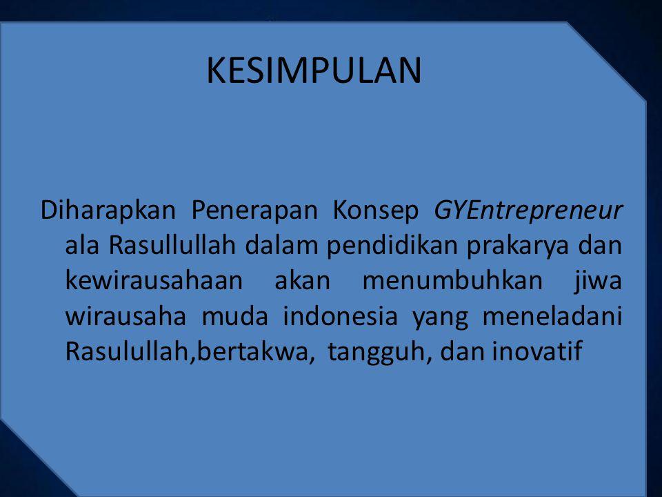Diharapkan Penerapan Konsep GYEntrepreneur ala Rasullullah dalam pendidikan prakarya dan kewirausahaan akan menumbuhkan jiwa wirausaha muda indonesia