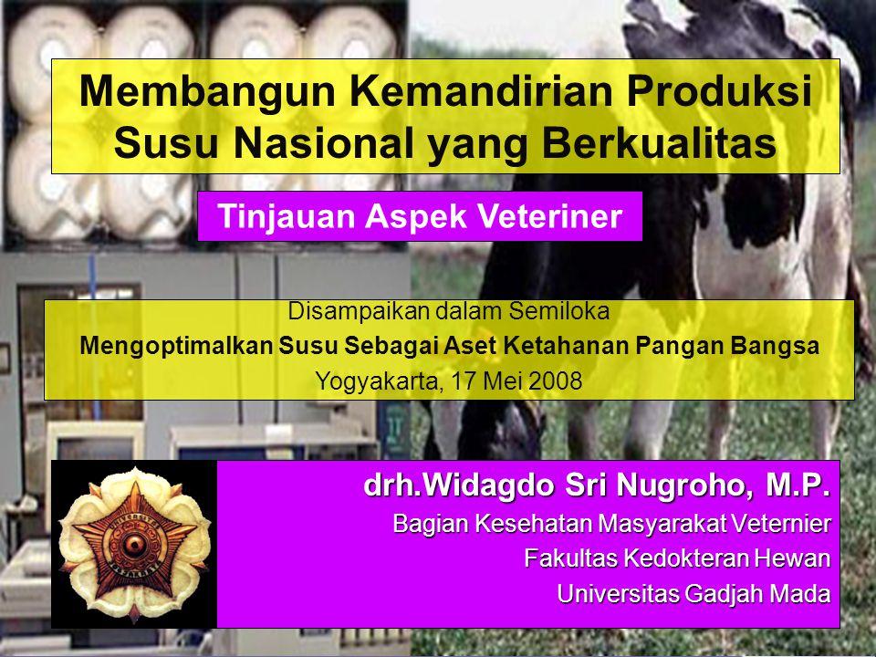 drh.Widagdo Sri Nugroho, M.P. Bagian Kesehatan Masyarakat Veternier Fakultas Kedokteran Hewan Universitas Gadjah Mada Membangun Kemandirian Produksi S