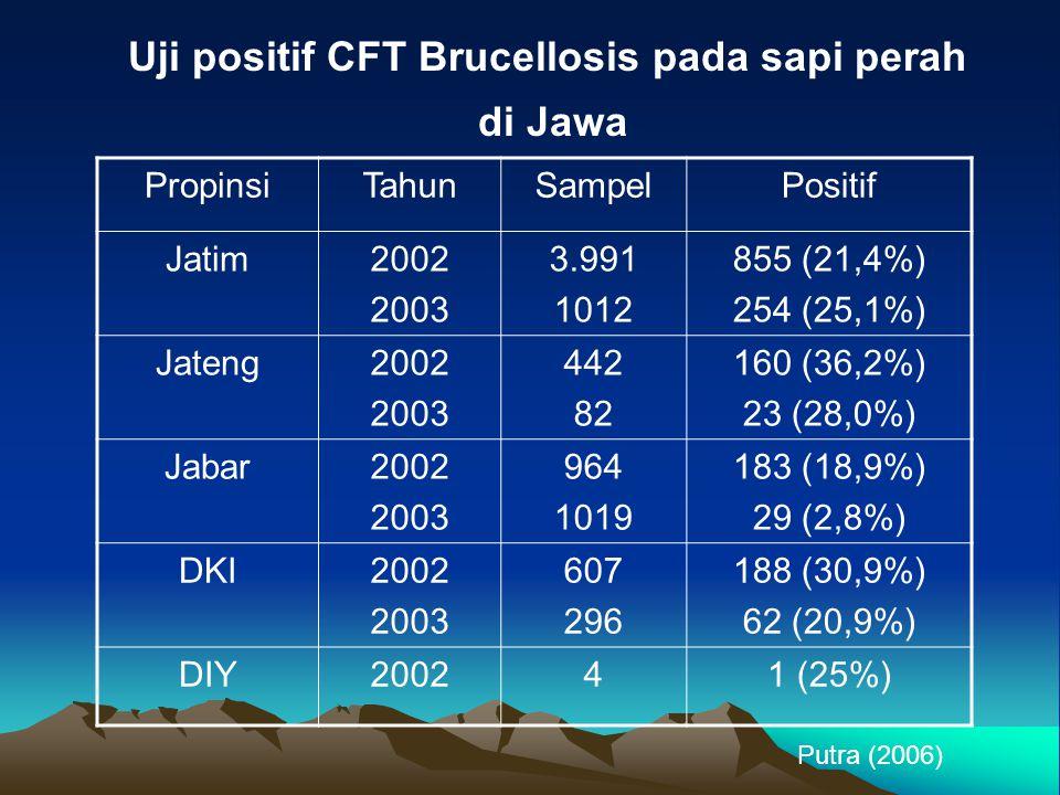 Uji positif CFT Brucellosis pada sapi perah di Jawa PropinsiTahunSampelPositif Jatim2002 2003 3.991 1012 855 (21,4%) 254 (25,1%) Jateng2002 2003 442 8