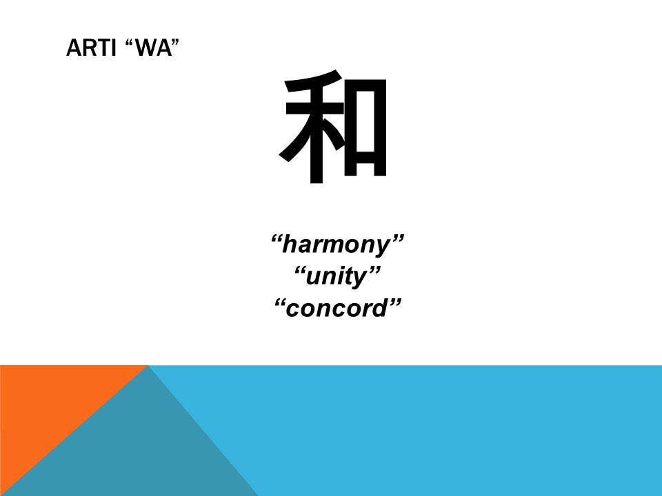"ARTI ""WA"" 和 ""harmony"" ""unity"" ""concord"""