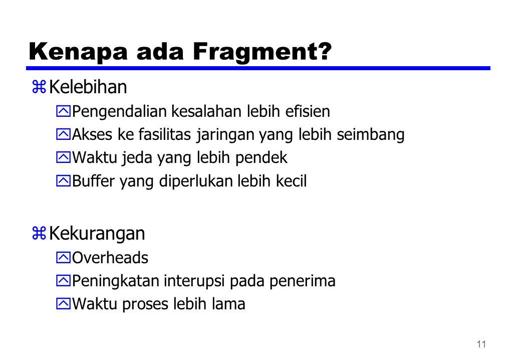 Kenapa ada Fragment? zKelebihan yPengendalian kesalahan lebih efisien yAkses ke fasilitas jaringan yang lebih seimbang yWaktu jeda yang lebih pendek y