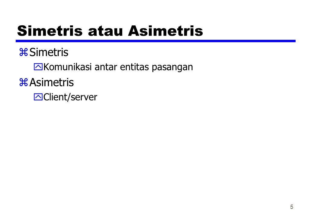 Simetris atau Asimetris zSimetris yKomunikasi antar entitas pasangan zAsimetris yClient/server 5