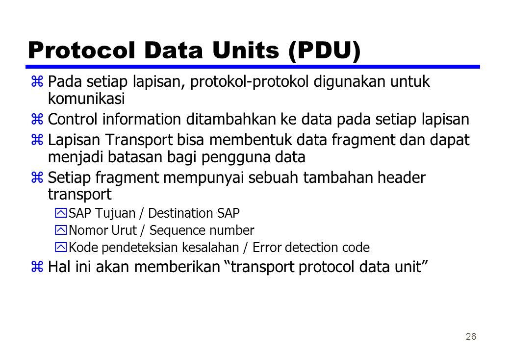 Protocol Data Units (PDU) zPada setiap lapisan, protokol-protokol digunakan untuk komunikasi zControl information ditambahkan ke data pada setiap lapisan zLapisan Transport bisa membentuk data fragment dan dapat menjadi batasan bagi pengguna data zSetiap fragment mempunyai sebuah tambahan header transport ySAP Tujuan / Destination SAP yNomor Urut / Sequence number yKode pendeteksian kesalahan / Error detection code zHal ini akan memberikan transport protocol data unit 26
