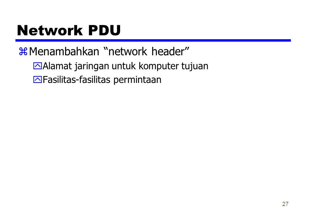 Network PDU zMenambahkan network header yAlamat jaringan untuk komputer tujuan yFasilitas-fasilitas permintaan 27