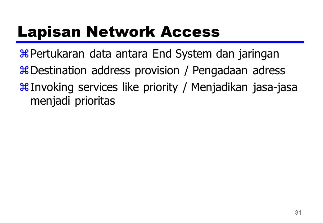 Lapisan Network Access zPertukaran data antara End System dan jaringan zDestination address provision / Pengadaan adress zInvoking services like prior