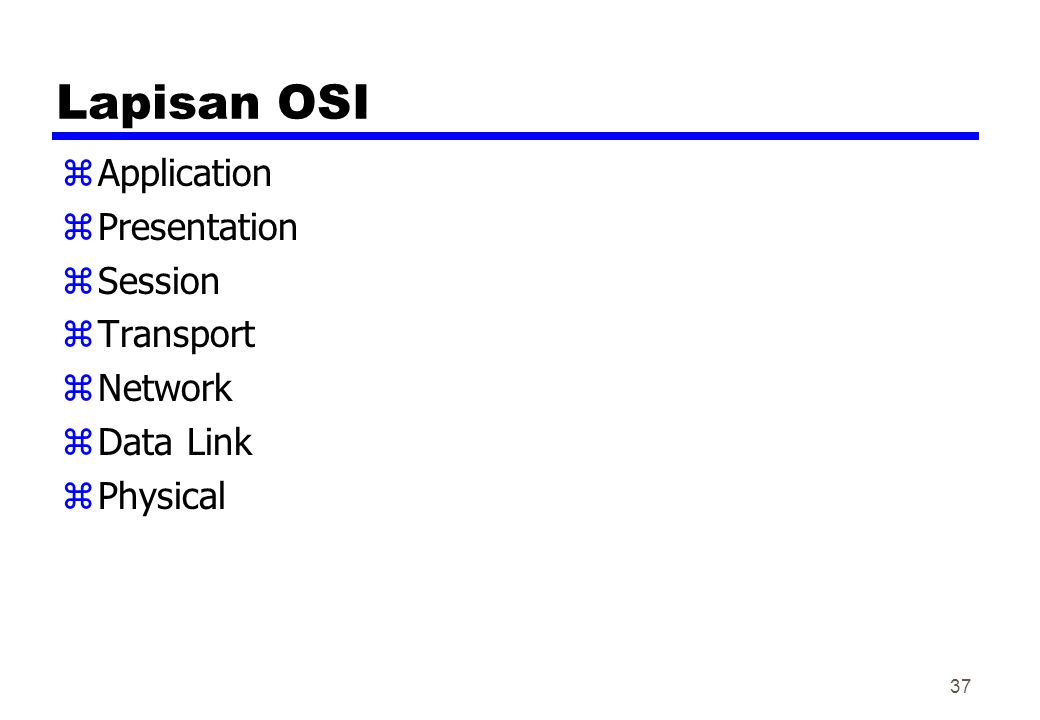 Lapisan OSI zApplication zPresentation zSession zTransport zNetwork zData Link zPhysical 37