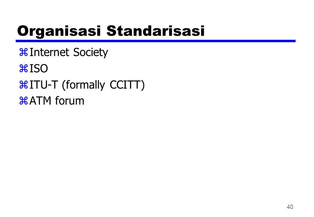 Organisasi Standarisasi zInternet Society zISO zITU-T (formally CCITT) zATM forum 40