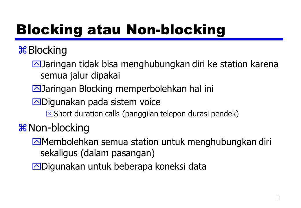 Blocking atau Non-blocking zBlocking yJaringan tidak bisa menghubungkan diri ke station karena semua jalur dipakai yJaringan Blocking memperbolehkan h