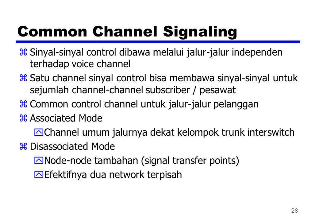 Common Channel Signaling zSinyal-sinyal control dibawa melalui jalur-jalur independen terhadap voice channel zSatu channel sinyal control bisa membawa