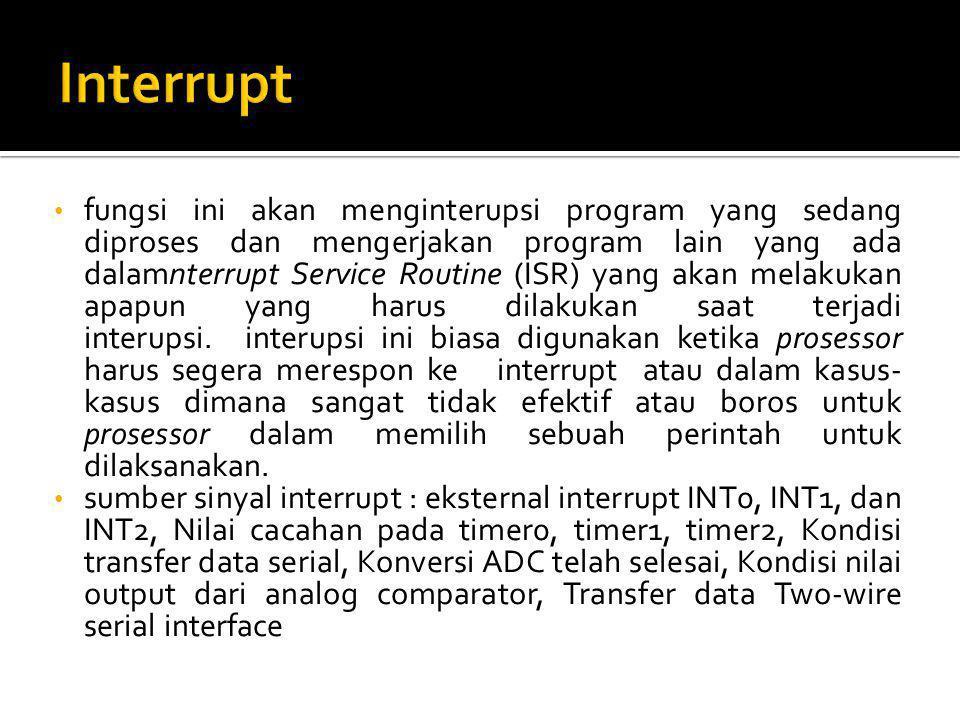 fungsi ini akan menginterupsi program yang sedang diproses dan mengerjakan program lain yang ada dalamnterrupt Service Routine (ISR) yang akan melakuk