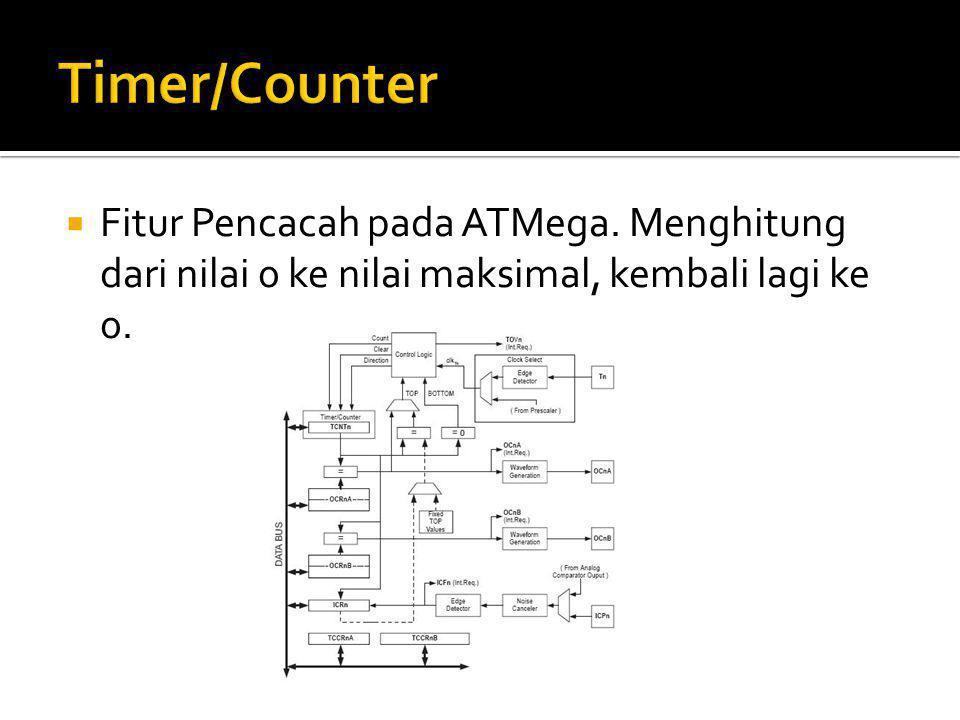  Timer0 dan Timer2 adalah Timer 8 bit, sesuai dengan namanya timer 8 bit yakni timer yang dapat mencacah dari 0 - 255 atau 0x00 - 0xFF.