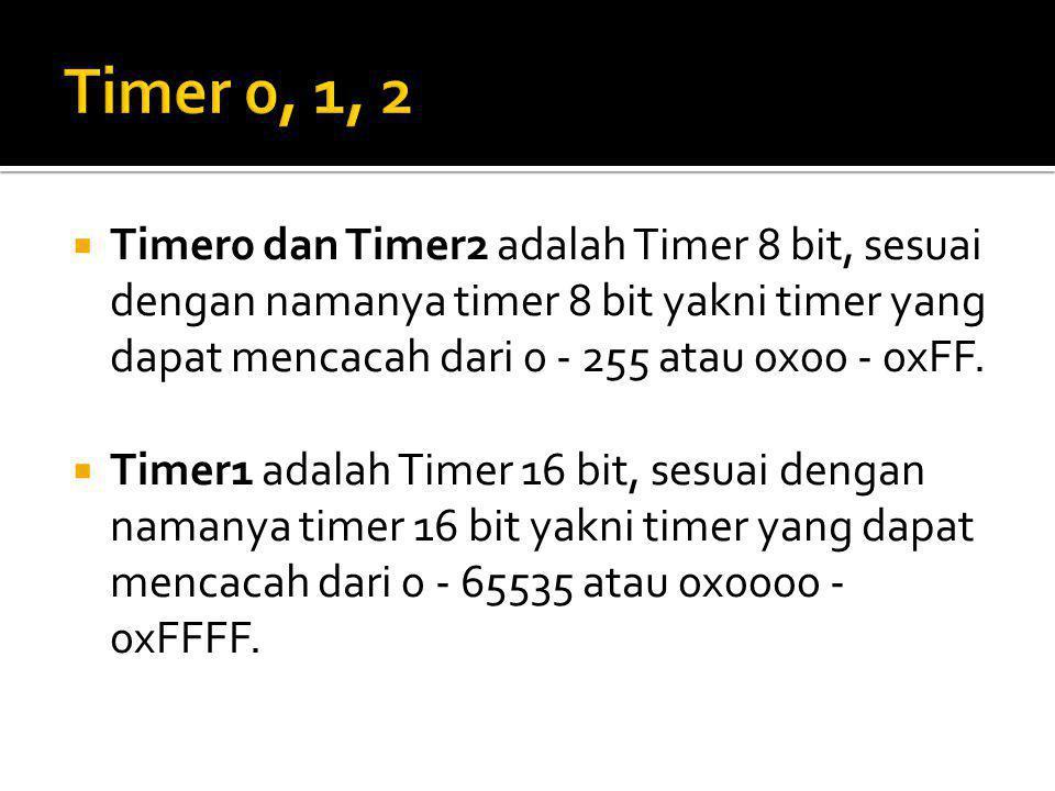  Timer0 dan Timer2 adalah Timer 8 bit, sesuai dengan namanya timer 8 bit yakni timer yang dapat mencacah dari 0 - 255 atau 0x00 - 0xFF.  Timer1 adal