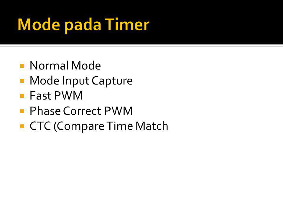  Normal Mode  Mode Input Capture  Fast PWM  Phase Correct PWM  CTC (Compare Time Match