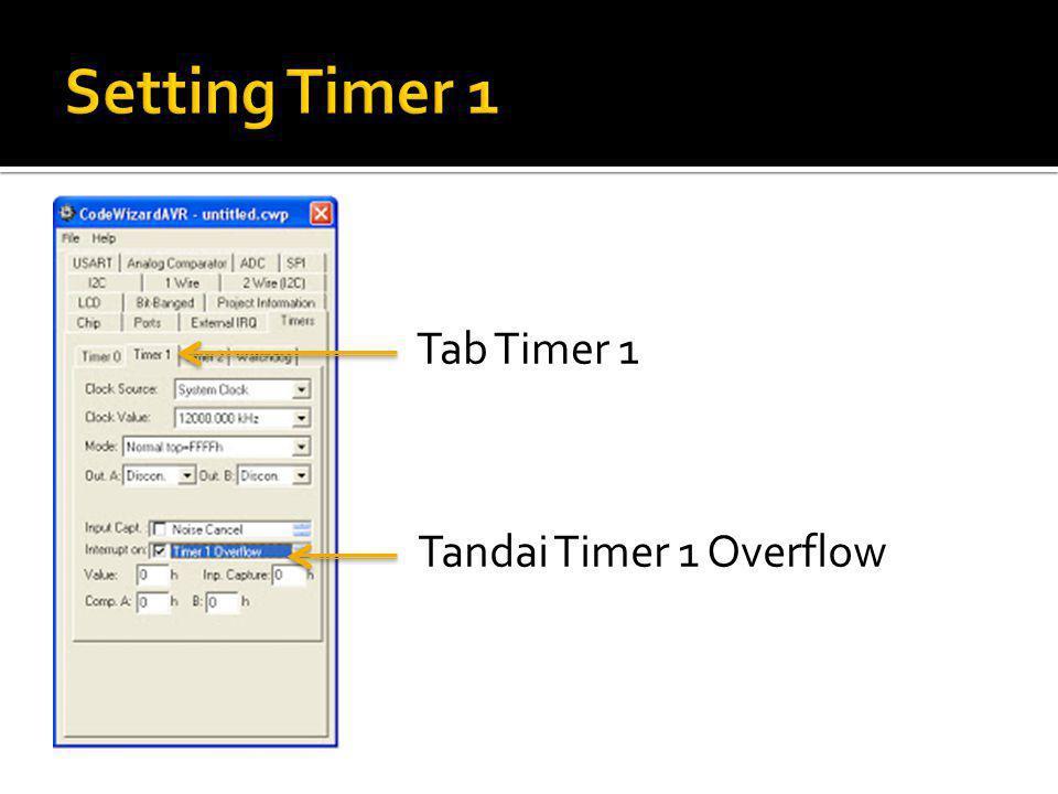 Tab Timer 1 Tandai Timer 1 Overflow