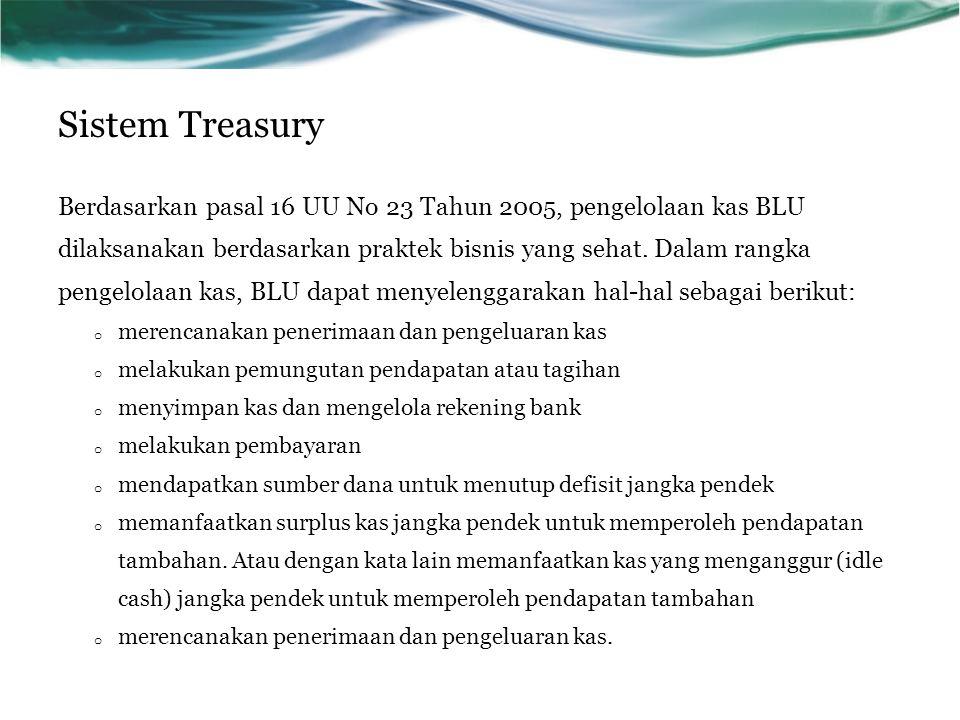 Sistem Treasury Berdasarkan pasal 16 UU No 23 Tahun 2005, pengelolaan kas BLU dilaksanakan berdasarkan praktek bisnis yang sehat. Dalam rangka pengelo