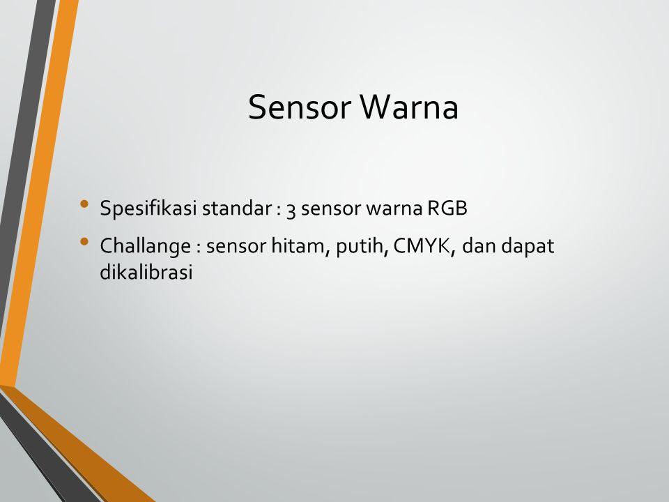 Sensor Warna Spesifikasi standar : 3 sensor warna RGB Challange : sensor hitam, putih, CMYK, dan dapat dikalibrasi