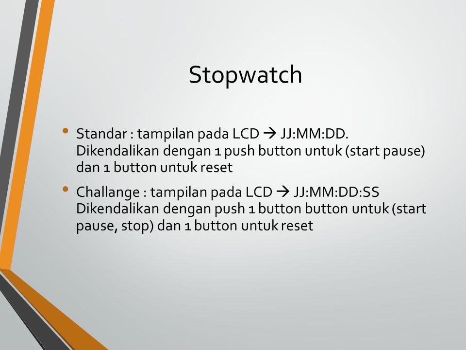 Stopwatch Standar : tampilan pada LCD  JJ:MM:DD.