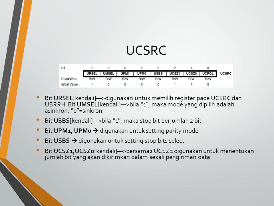 UBRRL, UBRRH UBRRL,H: merupakan register 16 bit yang digunakan untuk mengatur laju data (baud rate) pada saat mode komunikasi asinkron.