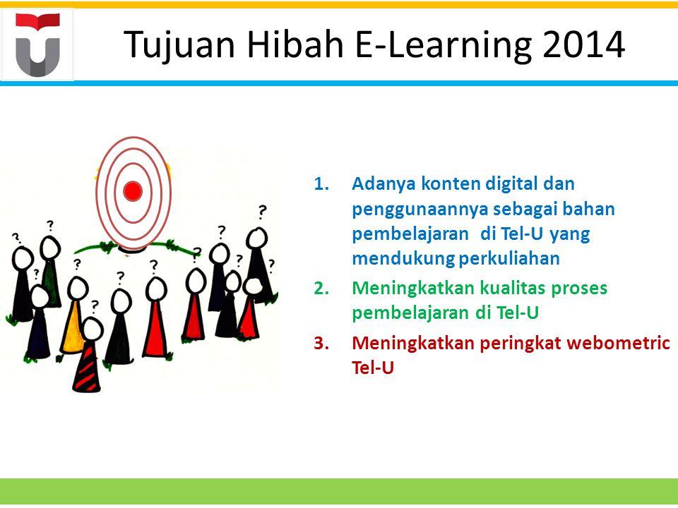 Tujuan Hibah E-Learning 2014 1.Adanya konten digital dan penggunaannya sebagai bahan pembelajaran di Tel-U yang mendukung perkuliahan 2.Meningkatkan kualitas proses pembelajaran di Tel-U 3.Meningkatkan peringkat webometric Tel-U