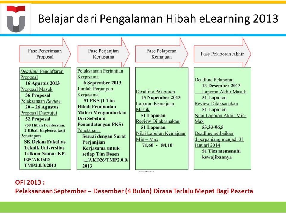 Belajar dari Pengalaman Hibah eLearning 2013 OFI 2013 : Pelaksanaan September – Desember (4 Bulan) Dirasa Terlalu Mepet Bagi Peserta