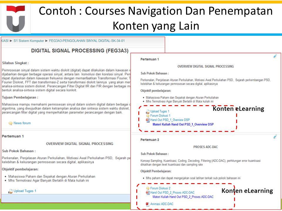 Contoh : Courses Navigation Dan Penempatan Konten yang Lain Konten eLearning