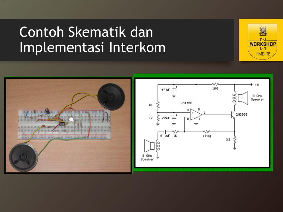 Penjelasan Singkat Skematik Input non-inverting pin 3 dibias sebesar 50% tegangan power supply (4.5v) dengan resistor pembagi tegangan 1kOhm Karena kedua tegangan input bernilai sama saat op-amp dalam kedaan penguatan yang masih linear, maka tegangan pada input inverting pin 2 dan emitter dari transistor buffer akan bernilai sama yakni 4.5v Continued…