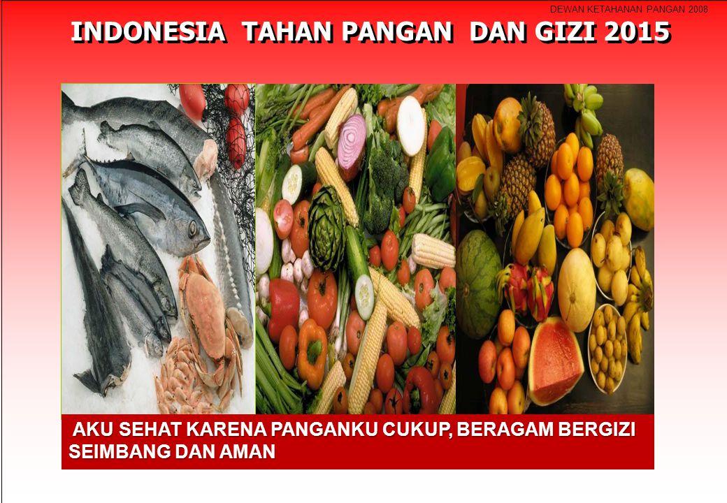 DEWAN KETAHANAN PANGAN 2008 INDONESIA TAHAN PANGAN DAN GIZI 2015 AKU SEHAT KARENA PANGANKU CUKUP, BERAGAM BERGIZI SEIMBANG DAN AMAN AKU SEHAT KARENA P