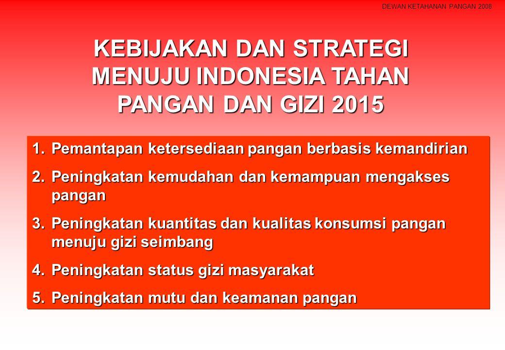 DEWAN KETAHANAN PANGAN 2008 KEBIJAKAN DAN STRATEGI MENUJU INDONESIA TAHAN PANGAN DAN GIZI 2015 1.Pemantapan ketersediaan pangan berbasis kemandirian 2