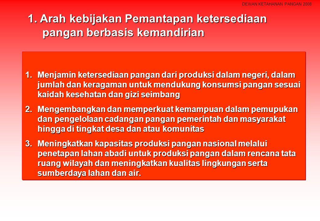 DEWAN KETAHANAN PANGAN 2008 1.Menjamin ketersediaan pangan dari produksi dalam negeri, dalam jumlah dan keragaman untuk mendukung konsumsi pangan sesu
