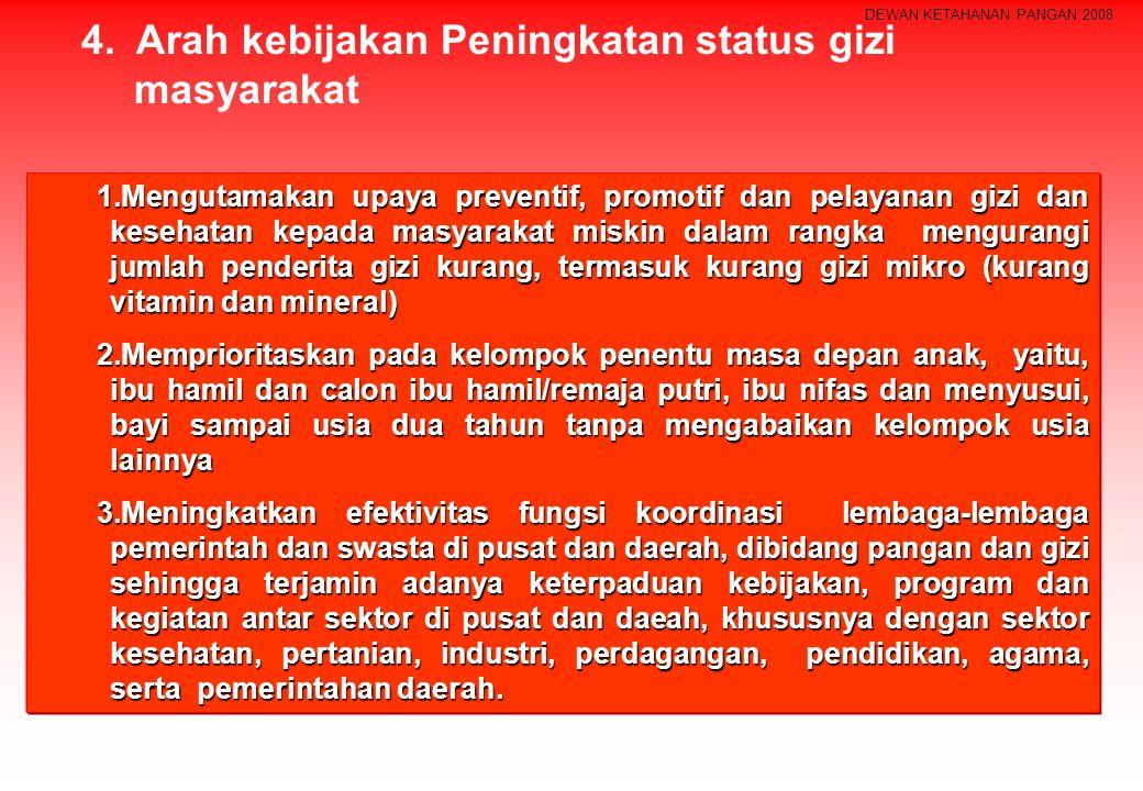 DEWAN KETAHANAN PANGAN 2008 1.Mengutamakan upaya preventif, promotif dan pelayanan gizi dan kesehatan kepada masyarakat miskin dalam rangka mengurangi