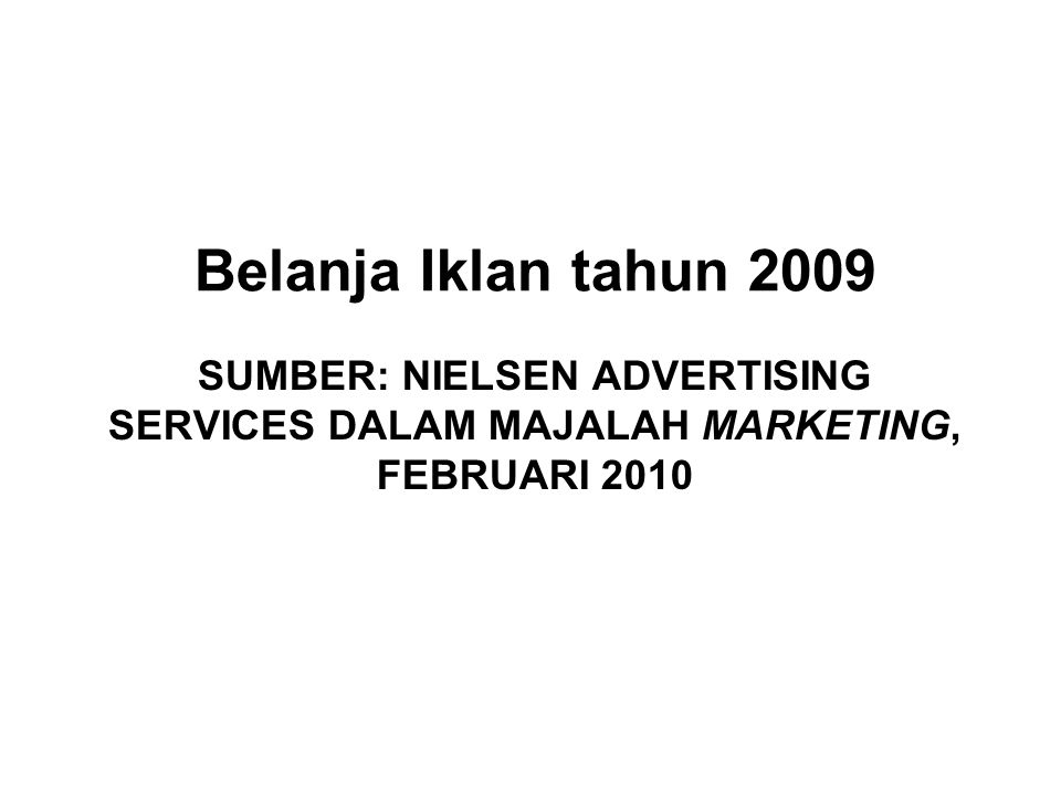 SUMBER: NIELSEN ADVERTISING SERVICES DALAM MAJALAH MARKETING, FEBRUARI 2010 Belanja Iklan tahun 2009