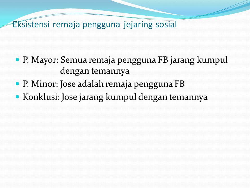 Eksistensi remaja pengguna jejaring sosial P. Mayor: Semua remaja pengguna FB jarang kumpul dengan temannya P. Minor: Jose adalah remaja pengguna FB K