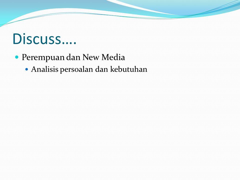 Discuss…. Perempuan dan New Media Analisis persoalan dan kebutuhan