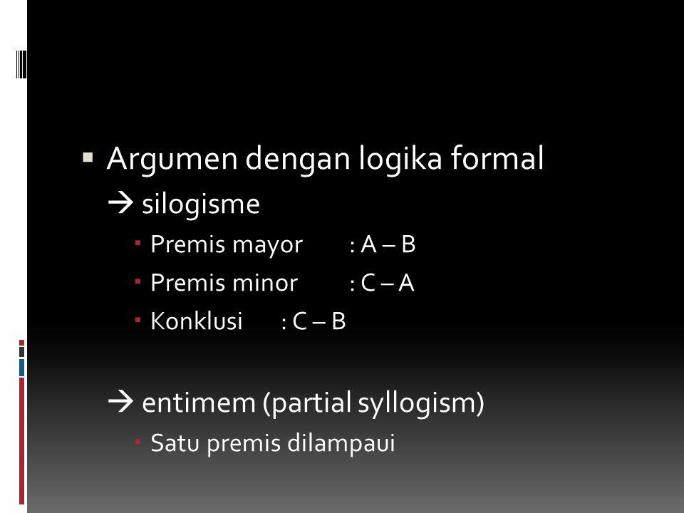 Argumen dengan logika formal  silogisme  Premis mayor: A – B  Premis minor: C – A  Konklusi: C – B  entimem (partial syllogism)  Satu premis d