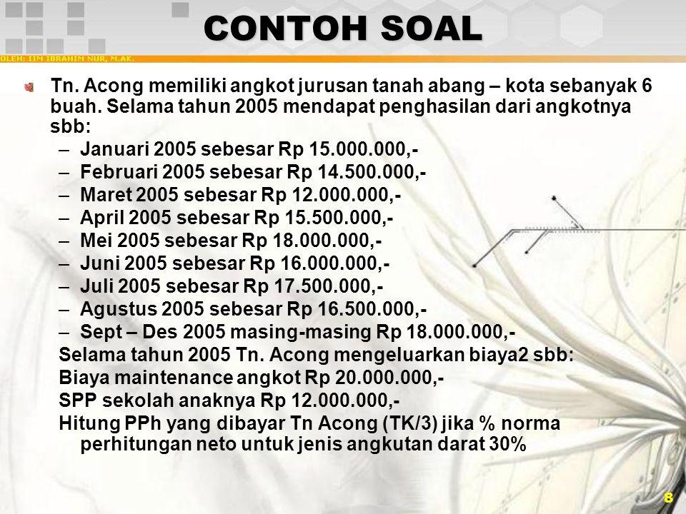 8 CONTOH SOAL Tn. Acong memiliki angkot jurusan tanah abang – kota sebanyak 6 buah. Selama tahun 2005 mendapat penghasilan dari angkotnya sbb: –Januar