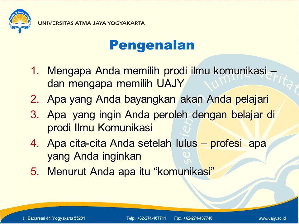 Jl. Babarsari 44 Yogyakarta 55281Telp. +62-274-487711 Fax. +62-274-487748www.uajy.ac.id Pengenalan 1.Mengapa Anda memilih prodi ilmu komunikasi – dan
