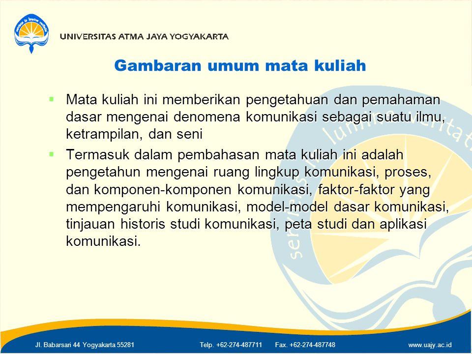 Jl. Babarsari 44 Yogyakarta 55281Telp. +62-274-487711 Fax. +62-274-487748www.uajy.ac.id Gambaran umum mata kuliah  Mata kuliah ini memberikan pengeta