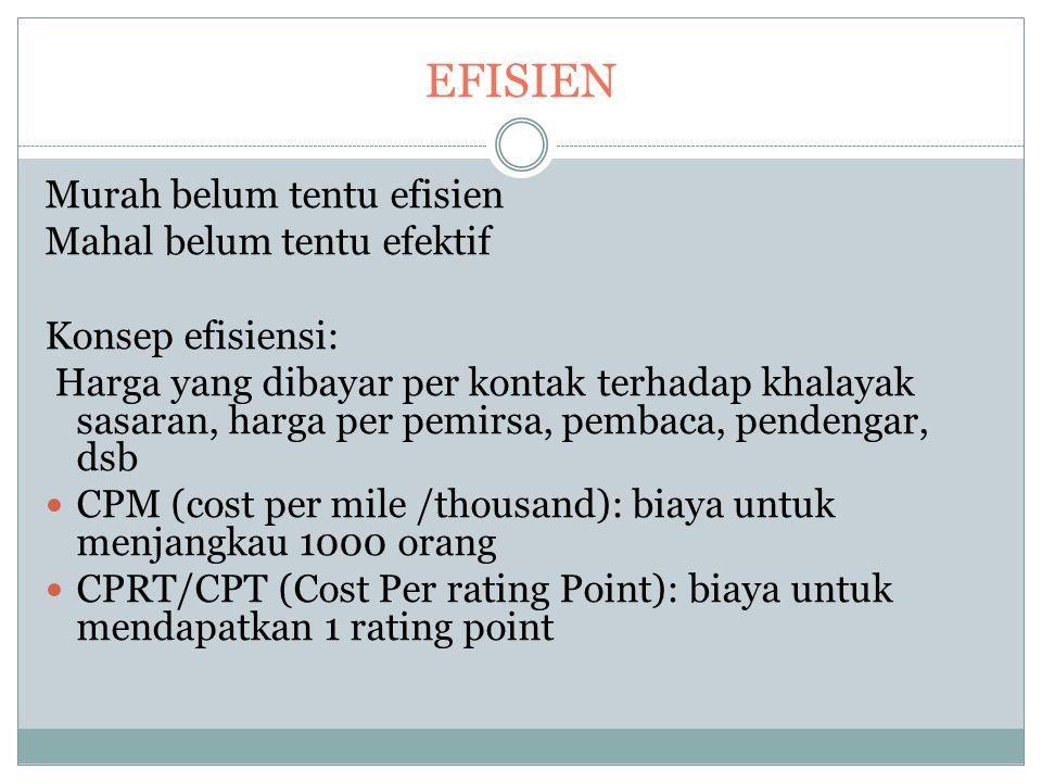 EFISIEN Murah belum tentu efisien Mahal belum tentu efektif Konsep efisiensi: Harga yang dibayar per kontak terhadap khalayak sasaran, harga per pemirsa, pembaca, pendengar, dsb CPM (cost per mile /thousand): biaya untuk menjangkau 1000 orang CPRT/CPT (Cost Per rating Point): biaya untuk mendapatkan 1 rating point
