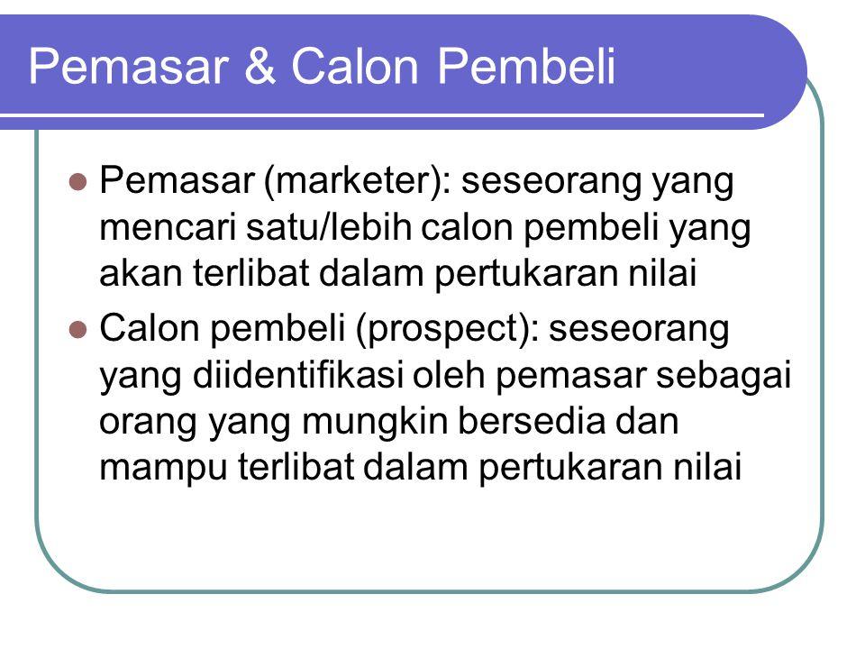 Pemasar & Calon Pembeli Pemasar (marketer): seseorang yang mencari satu/lebih calon pembeli yang akan terlibat dalam pertukaran nilai Calon pembeli (p