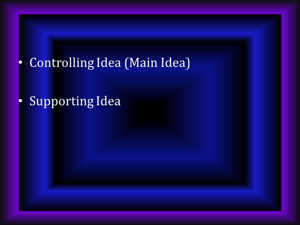 Controlling Idea (Main Idea) Supporting Idea