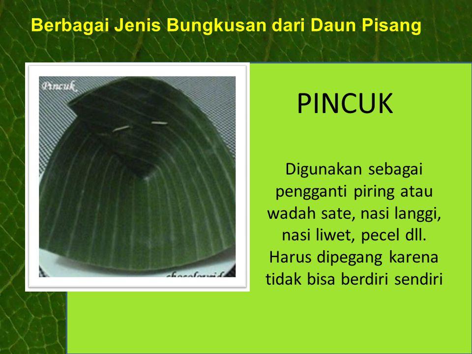 Berbagai Jenis Bungkusan dari Daun Pisang PINCUK Digunakan sebagai pengganti piring atau wadah sate, nasi langgi, nasi liwet, pecel dll. Harus dipegan