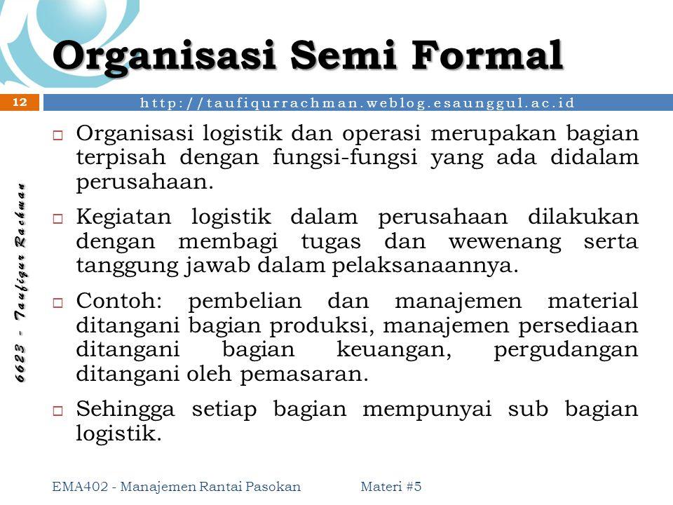 http://taufiqurrachman.weblog.esaunggul.ac.id 6 6 2 3 - T a u f i q u r R a c h m a n Organisasi Semi Formal Materi #5 EMA402 - Manajemen Rantai Pasok
