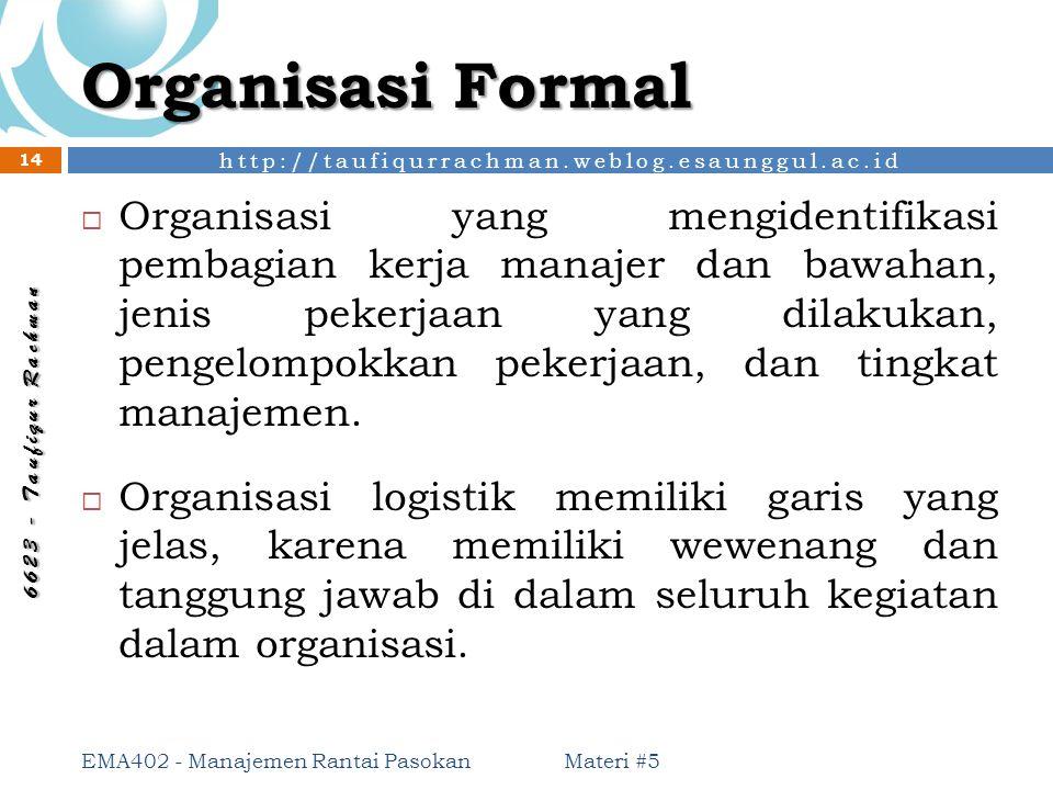 http://taufiqurrachman.weblog.esaunggul.ac.id 6 6 2 3 - T a u f i q u r R a c h m a n Organisasi Formal Materi #5 EMA402 - Manajemen Rantai Pasokan 14