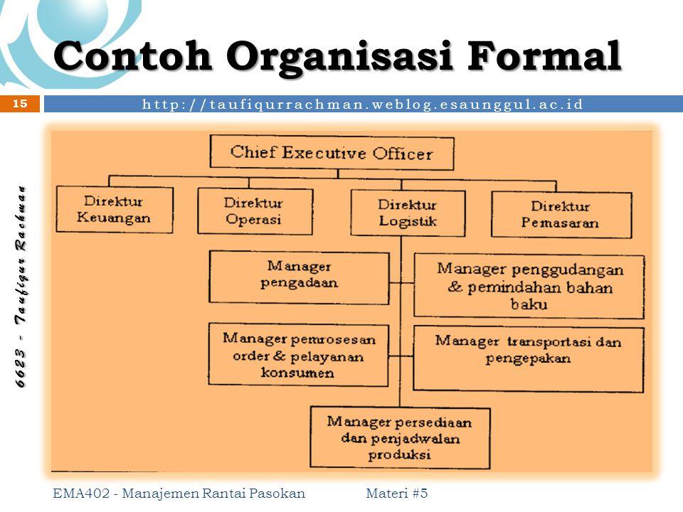 http://taufiqurrachman.weblog.esaunggul.ac.id 6 6 2 3 - T a u f i q u r R a c h m a n Contoh Organisasi Formal Materi #5 EMA402 - Manajemen Rantai Pas