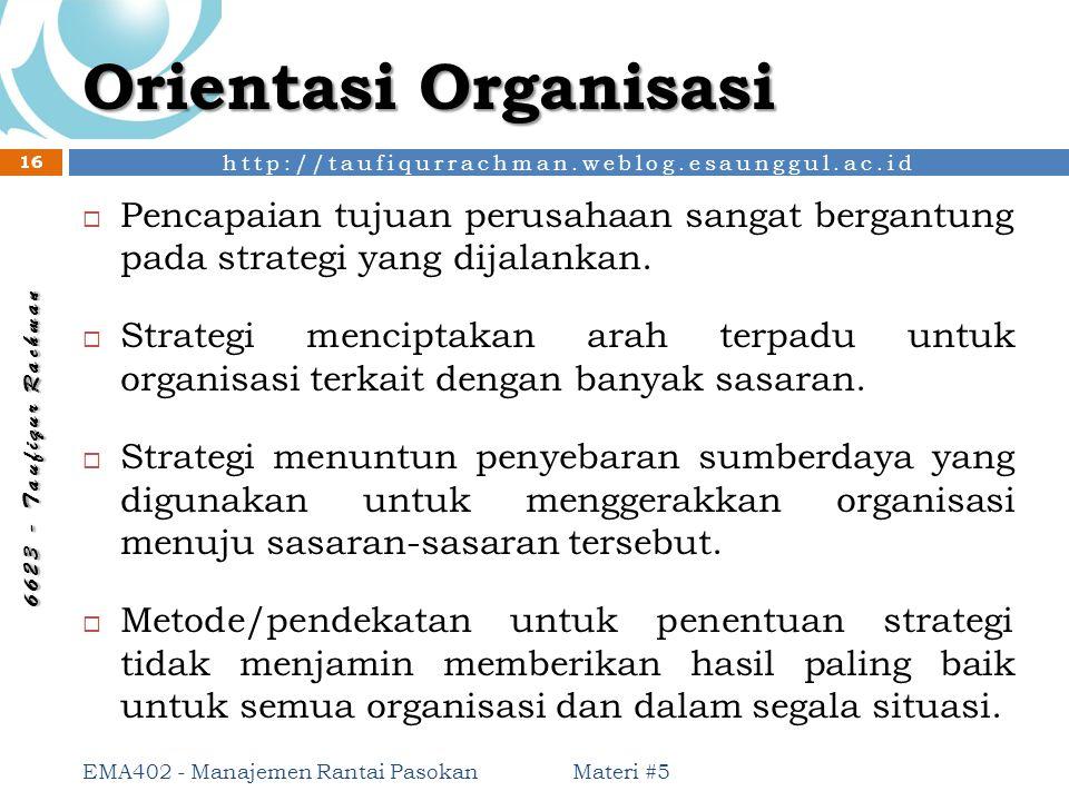 http://taufiqurrachman.weblog.esaunggul.ac.id 6 6 2 3 - T a u f i q u r R a c h m a n Orientasi Organisasi Materi #5 EMA402 - Manajemen Rantai Pasokan