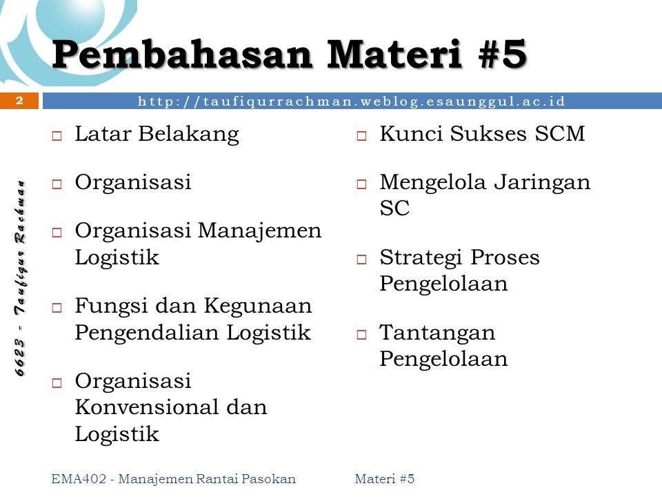 http://taufiqurrachman.weblog.esaunggul.ac.id 6 6 2 3 - T a u f i q u r R a c h m a n Pertimbangan Pilihan Organisasi Materi #5 EMA402 - Manajemen Rantai Pasokan 23 Jenis Organisasi Logistik Strategi perusahaan/ organisasi Jangkauan pasar Ketersedian sumber daya yang dibutuhkan